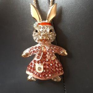 BETSEY JOHNSON jeweled rabbit bunny necklace